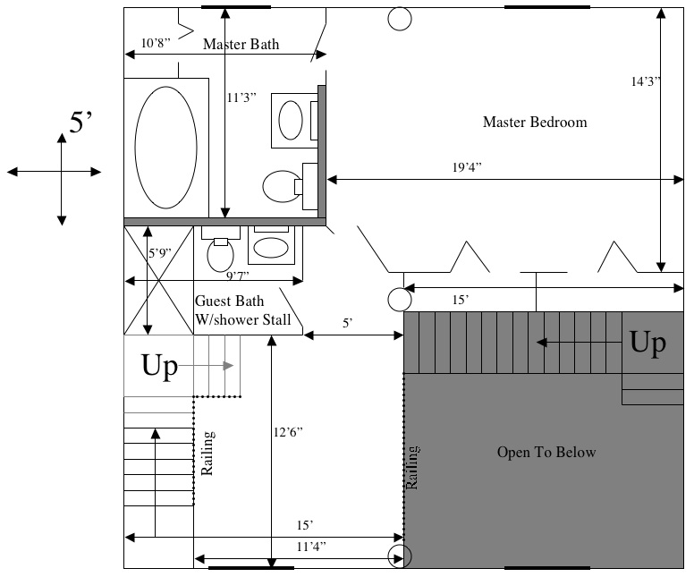 master bedroom measurements the third floor is just the back half of the houses x no balcony on this level just storage and a potential guest bedroom